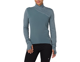 Blue long sleeve athletic shirt.