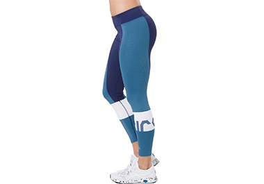 Women's blue and white tights.