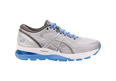 Women's grey and blue running shoe.