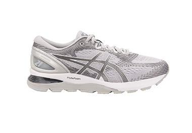 Men's white and grey running shoe
