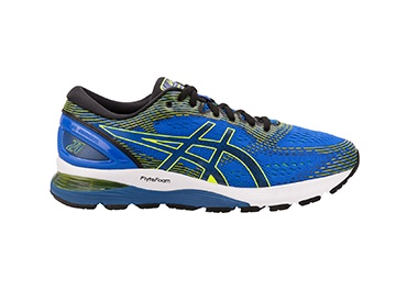 Men's blue and green running shoe.