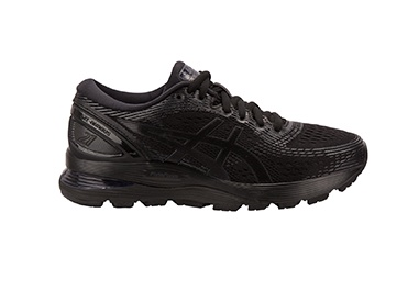 Men's black running shoe.
