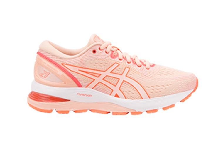 Peach running shoe