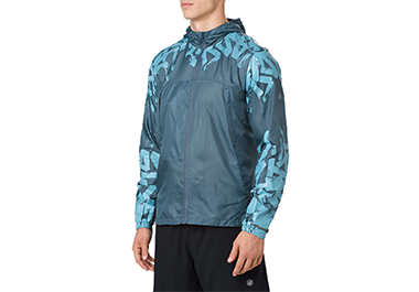 packable_jacket in blue with asics printed detail on sleeves and chest