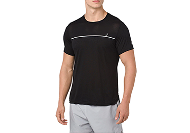 GEL-Cool SS Top in black with white detail line across the chest