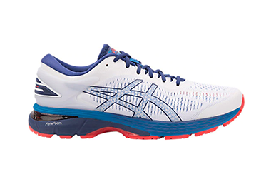 Gel Kayano 25 in blue, white and red