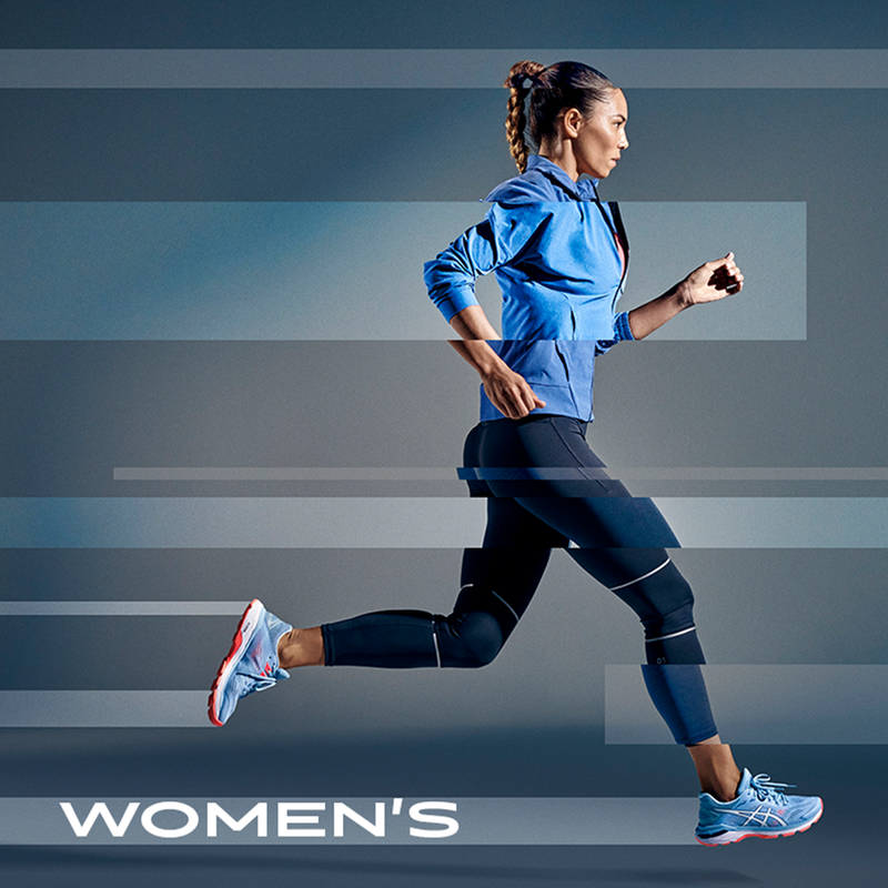 "Woman running, with ""Women's"" text overlaid"