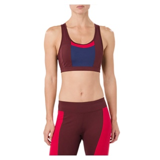 Quick-Dry Color Block Bra Maroon/Blue mobile