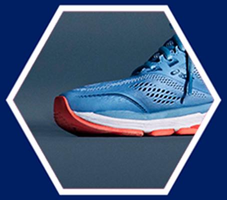 toe of blue running shoe