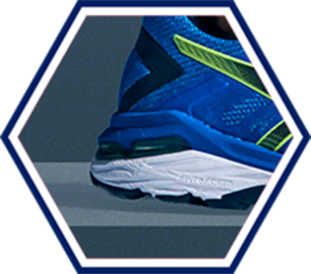 heel of blue running shoe