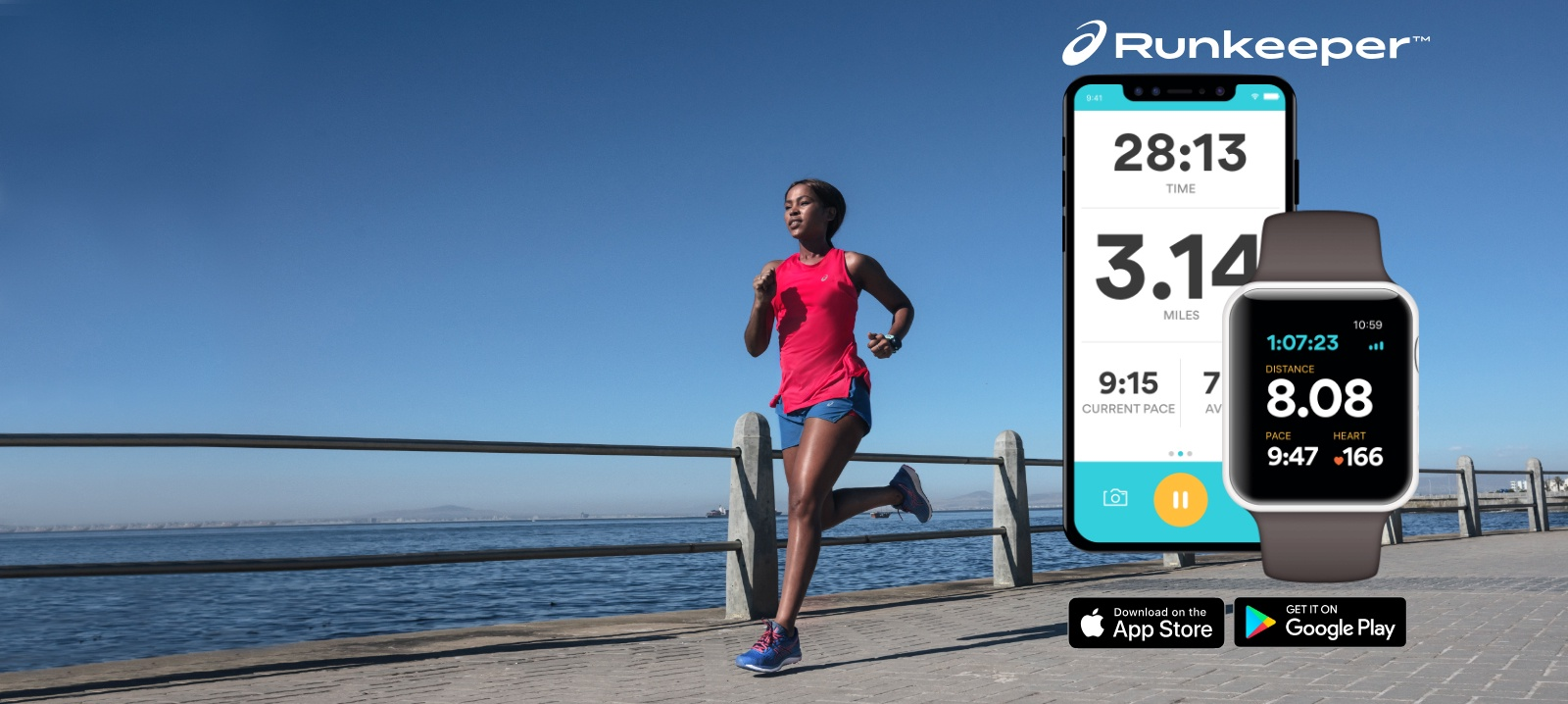 Woman running along side a phone displaying the Runkeeper App.