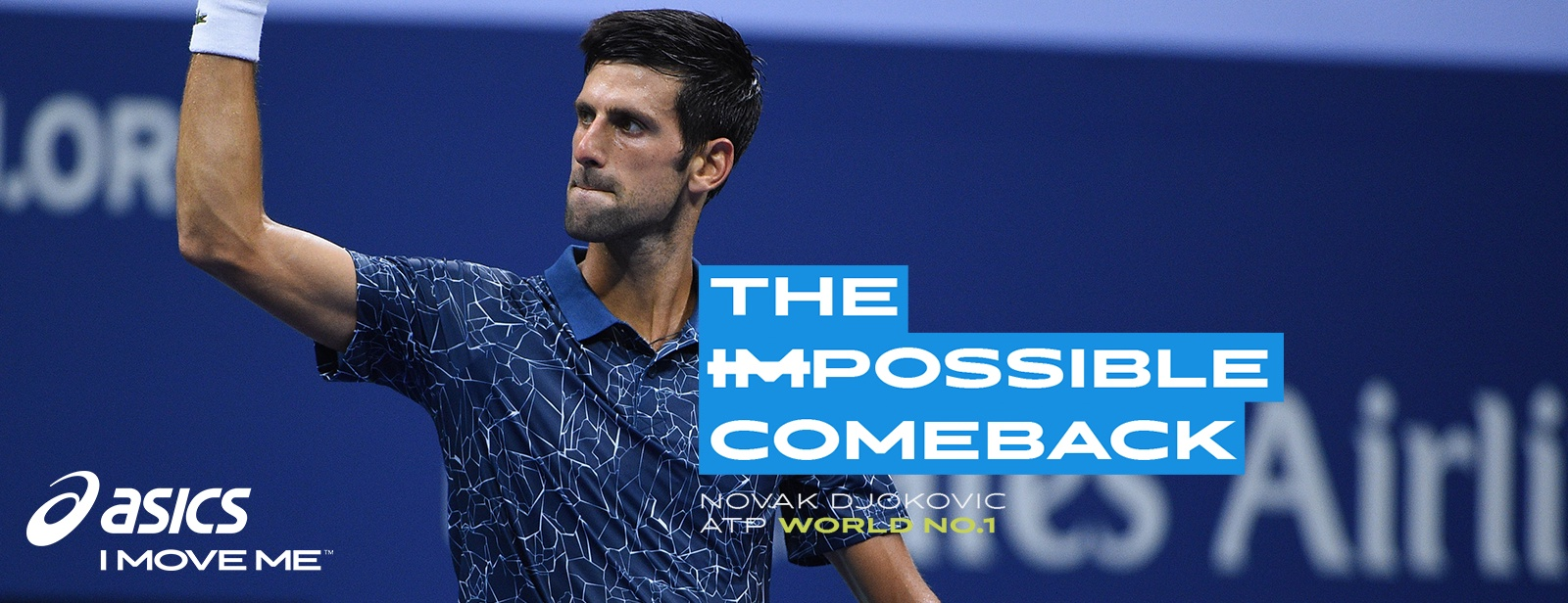 "Novak Djokovic celebrating a victory, with ""The Impossible Comeback"" overlaid text"