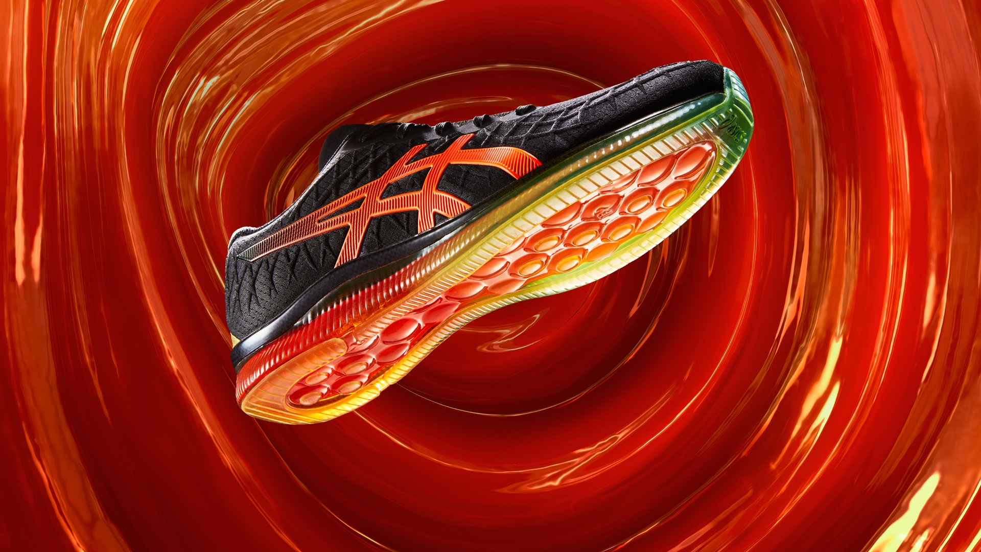 gel-quantum-infinity shoe on a red background