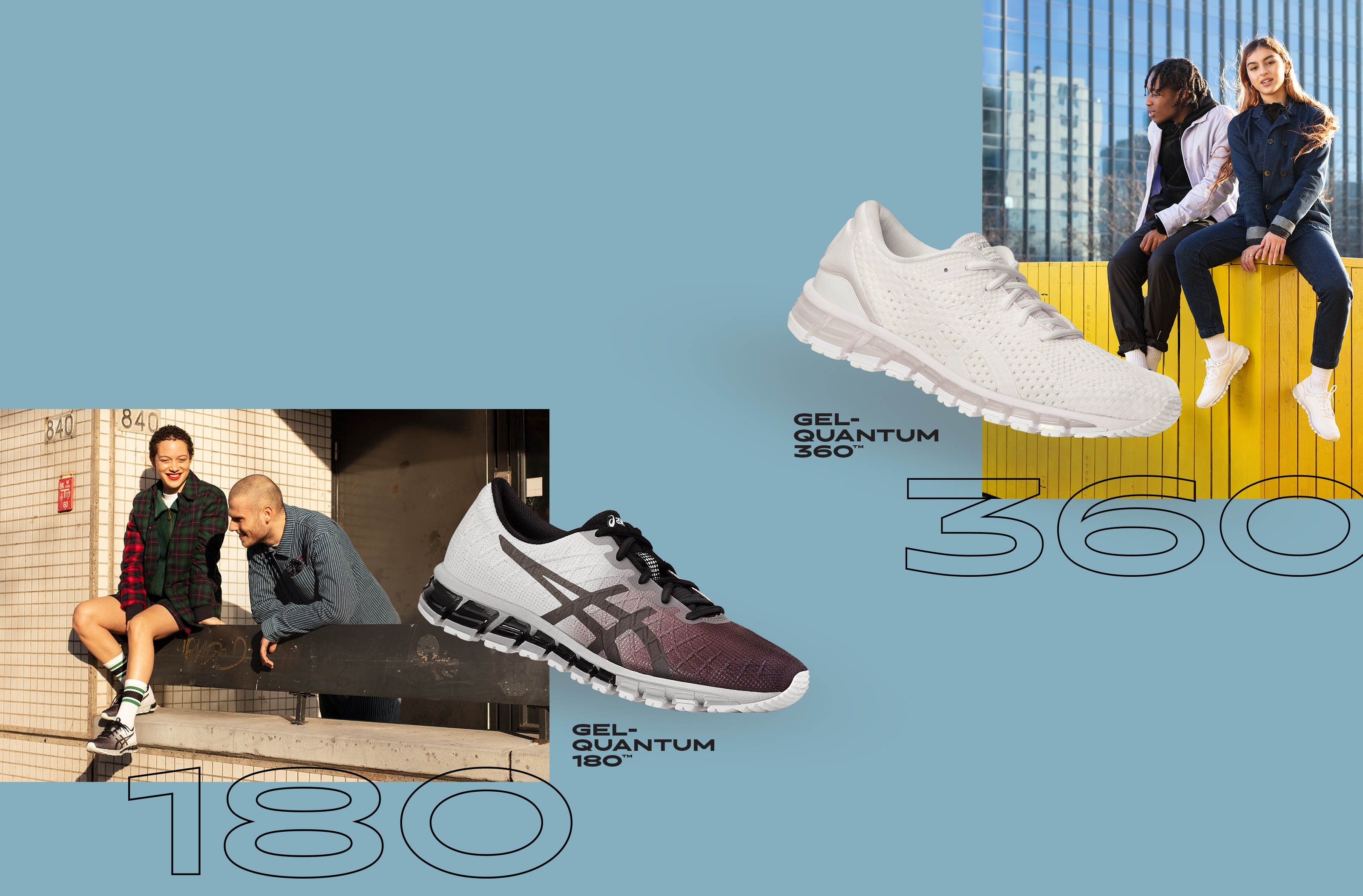 White and black running shoes over laid on image of men and women wearing the Gel-Quantum 360? and Gel- Quantum 180?