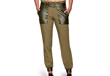Cropped image of woman wearing Moto Femme High Waisted Jogger Irvine.