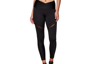 Cropped image of woman wearing Moto Femme High Waisted Tight Performance Black/Black.