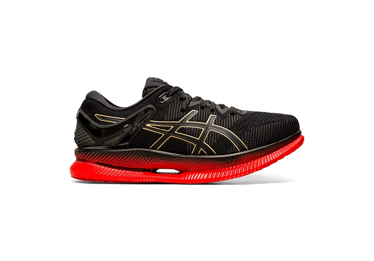 Women's black and red running shoes