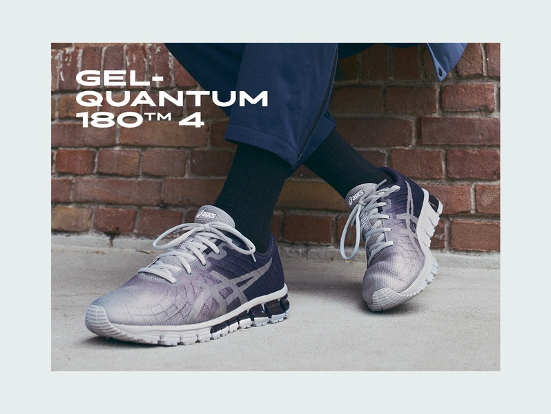 GEL-QUANTUM 180? 4 grey and black men's sport style sneaker.