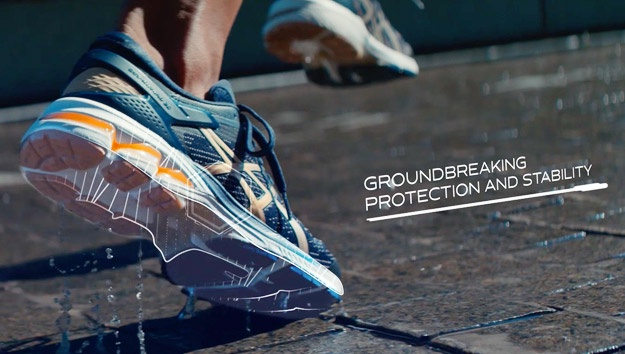 Person running in GEL-Kayano® 26 with protection technology highlighted.