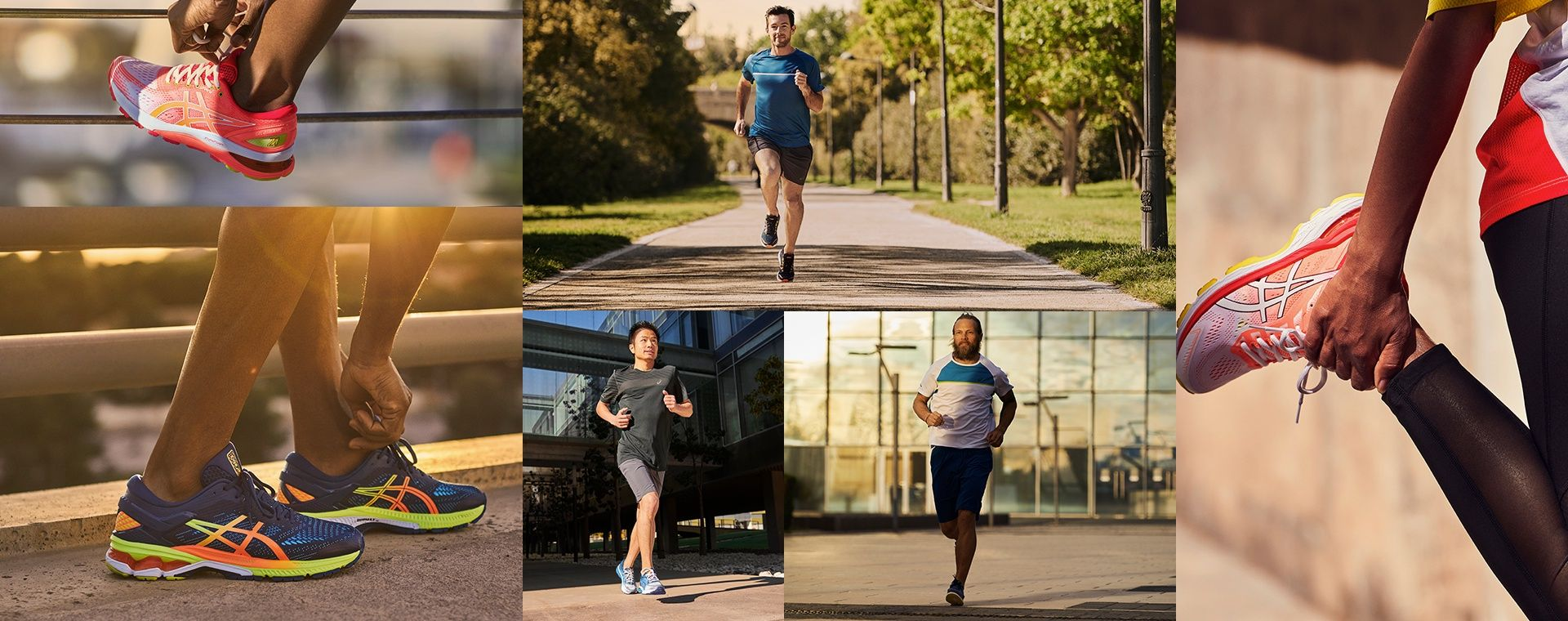Collage of runners wearing ASICS sneakers from the Run Colorfully Collection.
