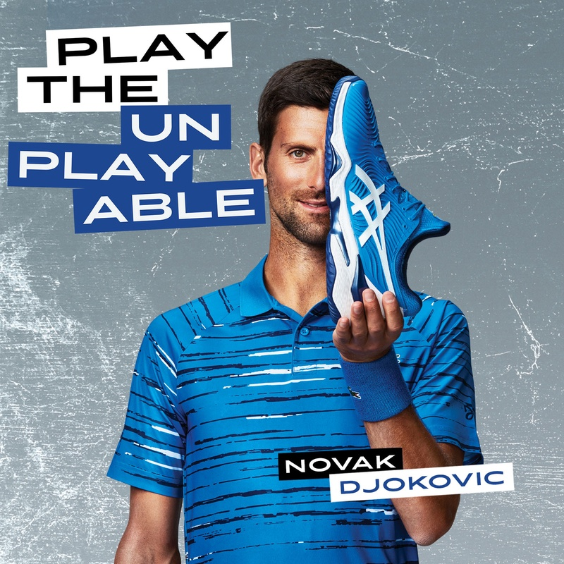 "Novak Djokovic holding a blue tennis shoe. ""Play the Unplayable"""