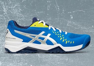 GEL-CHALLENGER? 12 Blue and Yellow Men's Tennis Shoe