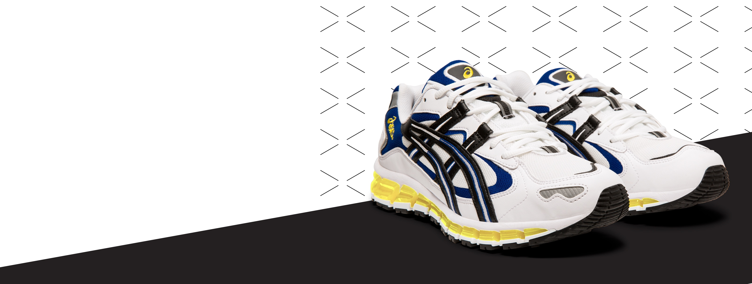 White, Yellow, and White Gel-Kayano 5 360 Shoes