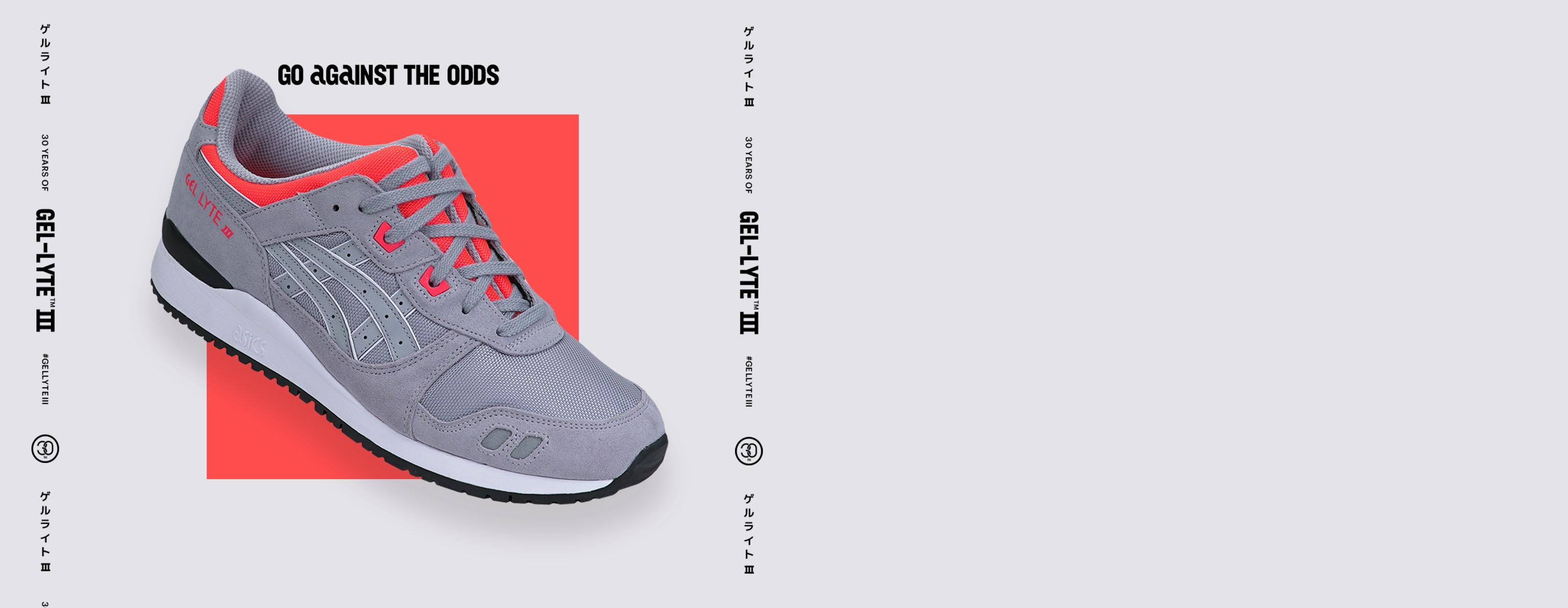 Grey Gel-Lyte III shoe on grey background.