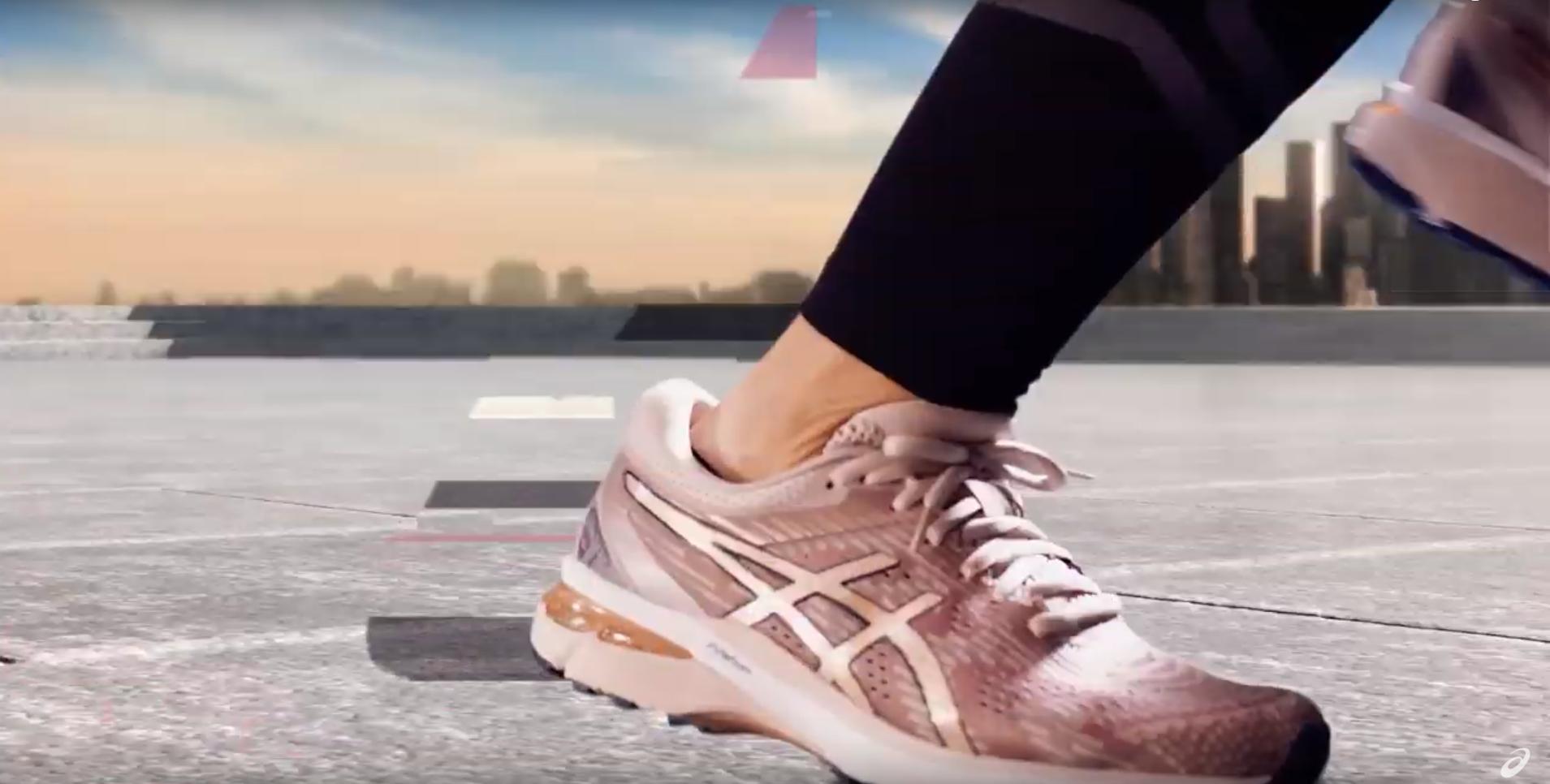 Pink running shoe.