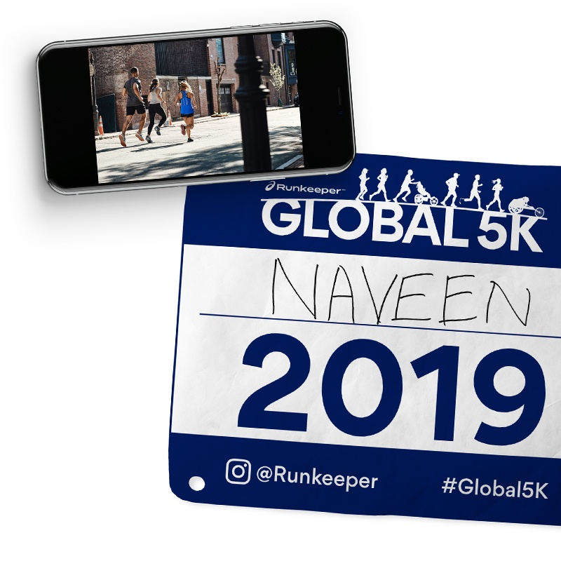 Phone with Printable Global 5K bib