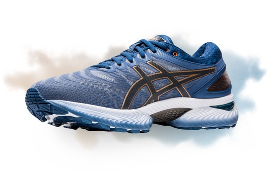 Mens blue and white Gel-nimbus 22 running shoe