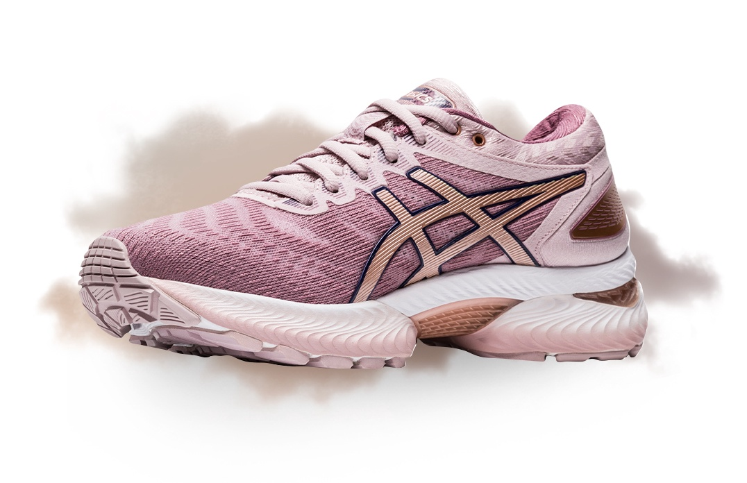 Womens pink and white Gel-nimbus 22 running shoe
