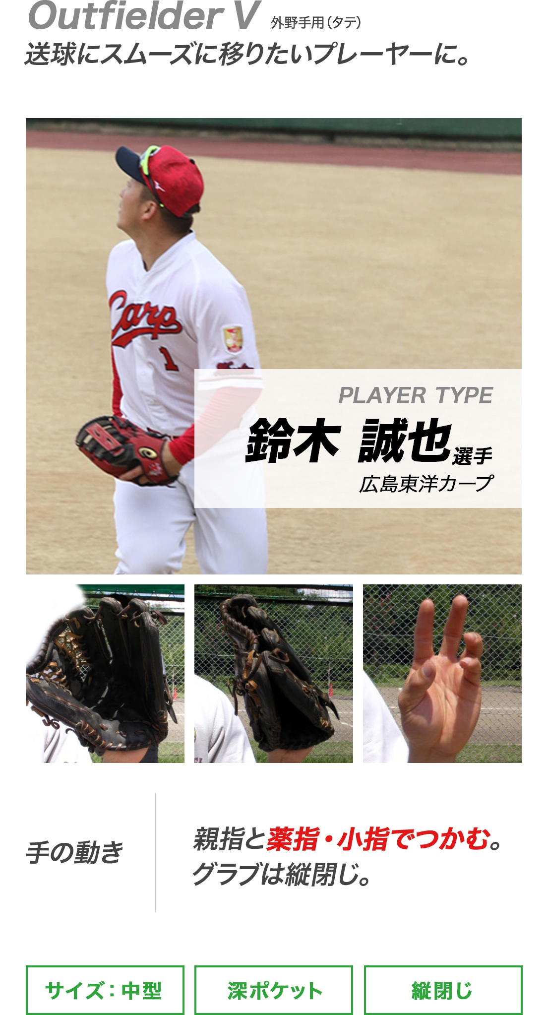 Outfielder V 送球にスムーズに移りたいプレーヤーに。