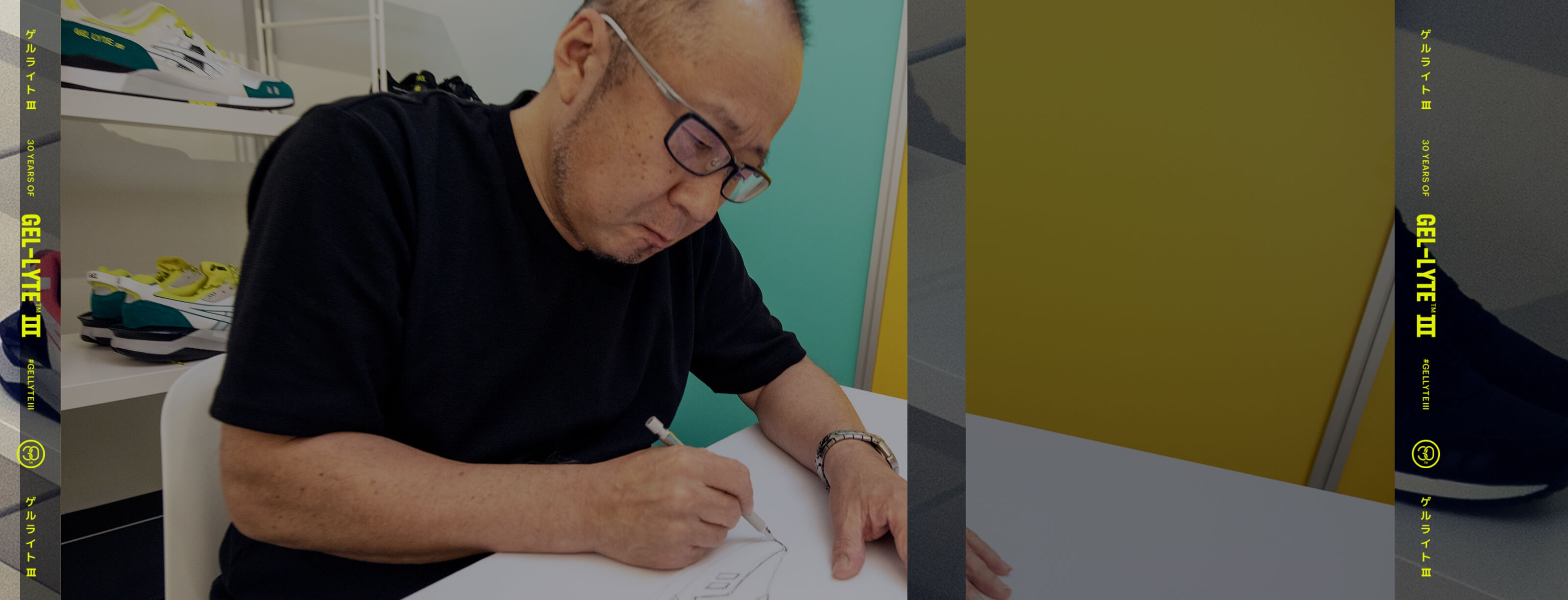 A man sitting at a desk and sketching a shoe design.