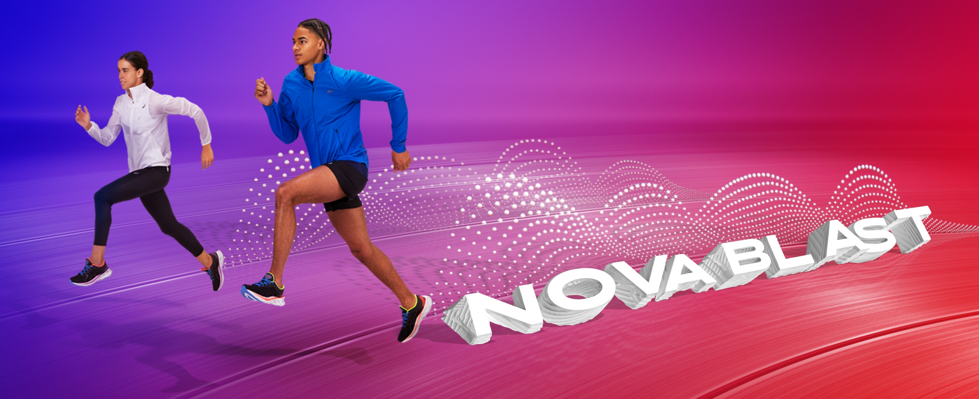 Man and woman running in Novablast running shoes. Novablast?