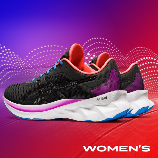 Womens black, white and purple Novablast™ running shoes.