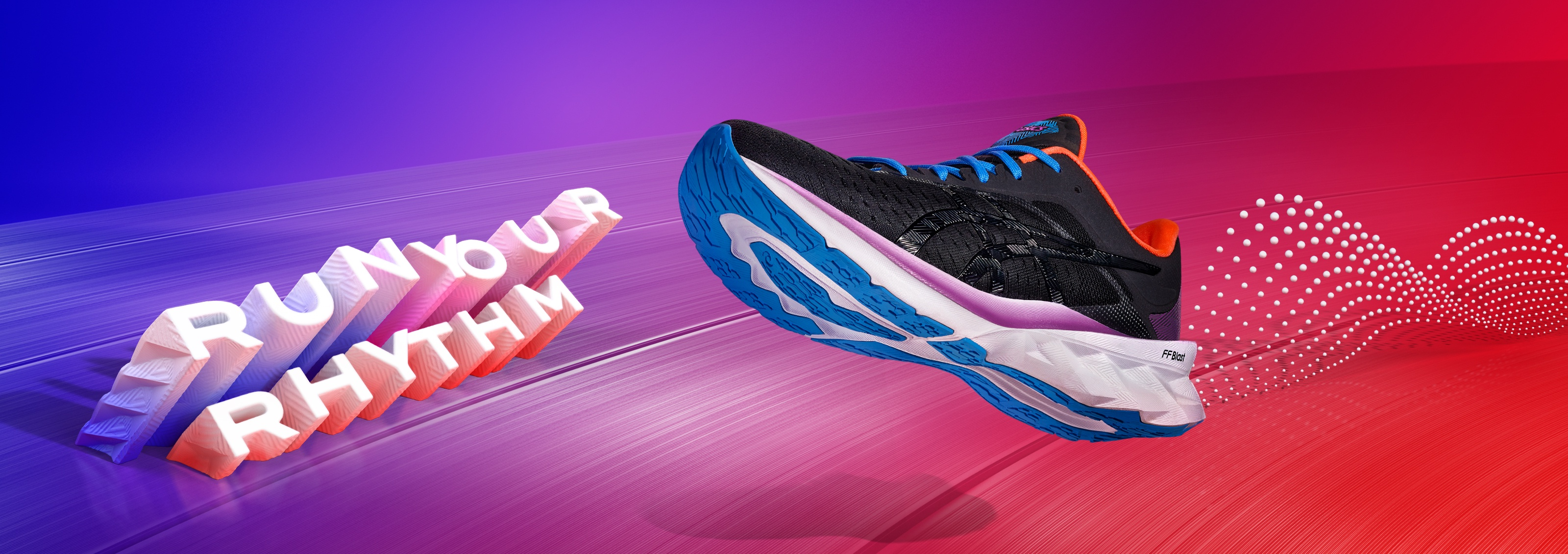 Run Your Rhythm- Men's black, black, white and orange running shoe.