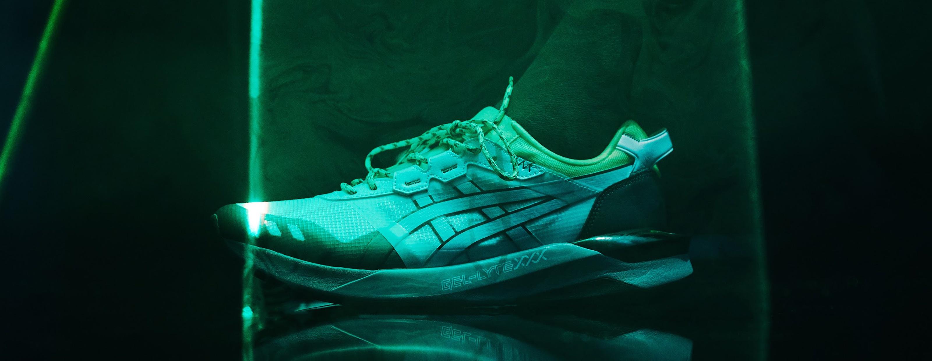 Gel Lyte XXX Shoe with lights shining on it