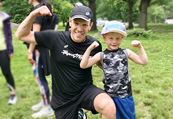 Dr. Jordan Metzl working out with a child