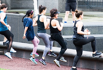 A group exercise class outdoors