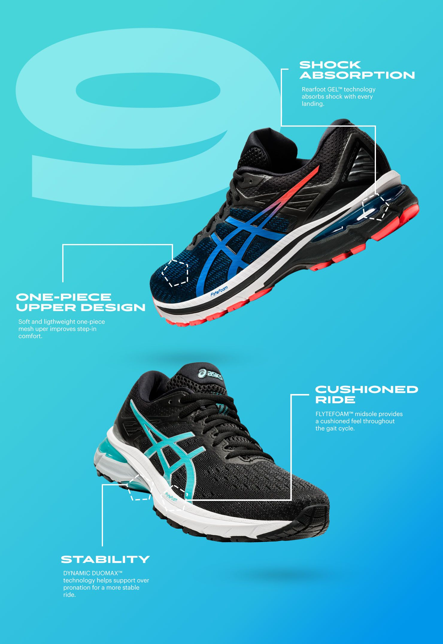 GT-2000 9 tech callout: Stability, one-piece upper design, shock absorption, cushioned ride