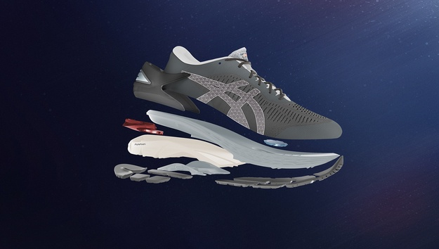 3D rendering of different components of a running shoe.