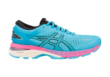 Women's blue and pink running shoes.