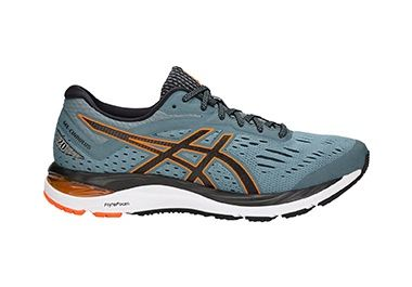 Men's teal running shoe with orange accents.