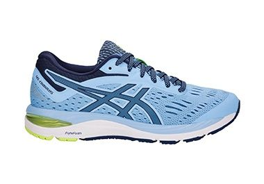 Women's gray running shoe which blue and yellow accents.