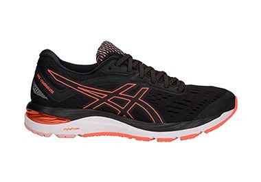 Women's black running shoe.
