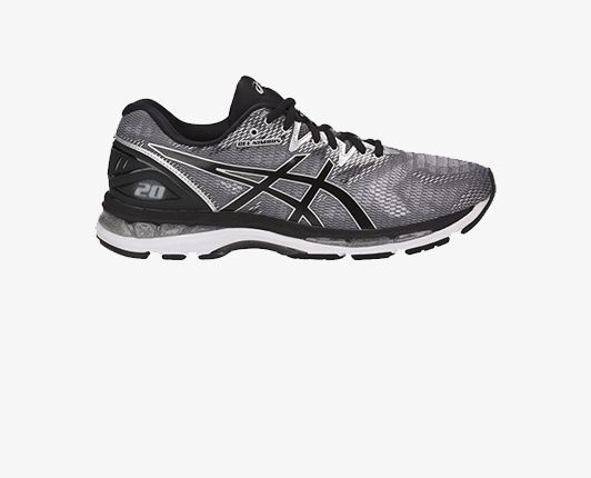 Black and grey running shoe