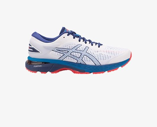 Red white and blue running shoe