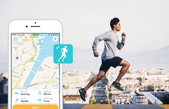 Man running alongside a smartphone displaying a map.