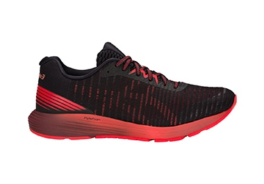 Men's black and red running shoe.